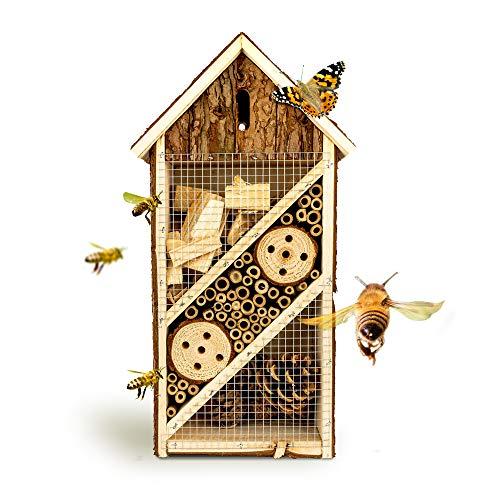 bambuswald© Insektenhotel 19,5 x 10 x 37 cm | Bienenhotel Unterschlupf für Insekten - Insektenhaus Naturmaterialien. Gelebter Natur- & Artenschutzfür Zuhause -NistkastenHausNützlingshotel Schutz