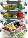 [5-Pack,36 Oz]Glass Meal Prep Containers 2 Compartments Portion Control with Upgraded Snap Locking...