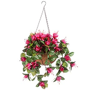 OakRidge Fully Assembled Artificial Fuchsia Hanging Basket – Polyester/Plastic Flowers in Metal/Coco Fiber Liner Basket for Indoor/Outdoor Use