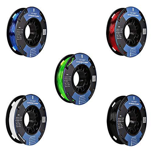 SainSmart, piccola bobina da 1,75mm, poliuretano termoplastico TPU flessibile, filamento 3D da 250g, precisione +/-0,05mm, durezza shore 95A (multicolor)