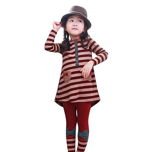 e7a93f1049a31 LSERVER Ensemble Top T-Shirt Robe Manches Longues + Leggings Rayure en  Coton pour Enfant