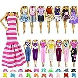 ZITA ELEMENT 10 Stück Kleider Kleidung Puppensachen Mode Urlaubstag Kleider für 11,5 Zoll Puppen Handgefertigte Puppenkleidung Puppen Outfits Zubehör Kostüm 5 Kleidung mit 5 Paar Schuhen -