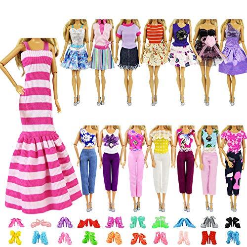 ZITA ELEMENT 10 Stück Kleider Kleidung Puppensachen Mode Urlaubstag Kleider für 11,5 Zoll Puppen Handgefertigte Puppenkleidung Puppen Outfits Zubehör Kostüm 5 Kleidung mit 5 Paar Schuhen