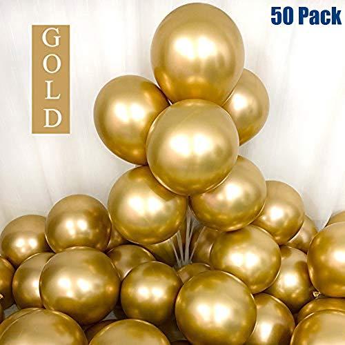 50Pcs Goldene Luftballons, Metallic Luftballons Gold, 12 Zoll Goldene BallonsHelium Luftballons Geburtstag Ballons Hochzeit Geburtstagsballons Hochzeitsballons Latexballon Partyballon (Gold)