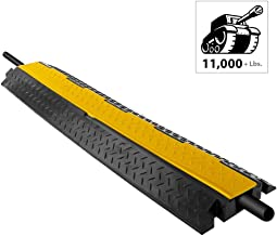 "Durable Cable Protective Ramp Cover - Supports 11000lbs Single Channel Heavy Duty Cord Protection W/ Flip-Open Top Cover, 39.4"" X 5.11"" X 1.8"" Cable Concealer for Indoor Outdoor Use - Pyle PCBLCO102"
