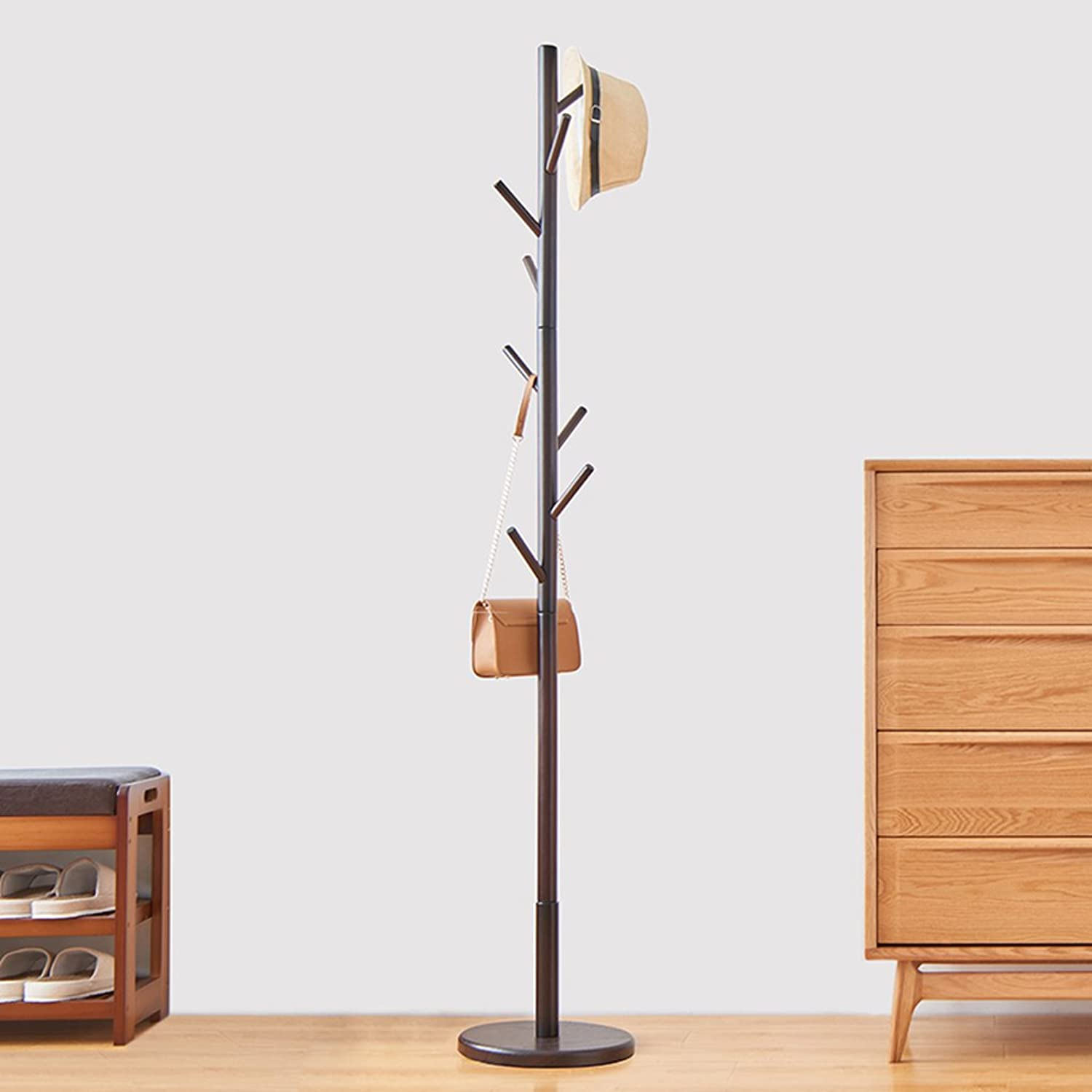 Simple Solid Wood Floor Coat Rack, Assembly 8 Hook, H176cm (color  Brown color) ( Size   Small )