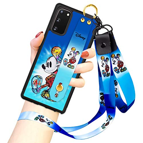 DISNEY COLLECTION Samsung Galaxy S20 FE 5G Case, Mickey Mouse Street Fashion Wrist Strap Band Protector Phone Cover Full-Body Bumper Lanyard Case for Galaxy S20 FE 5G 6.5 INCH 2020 Release