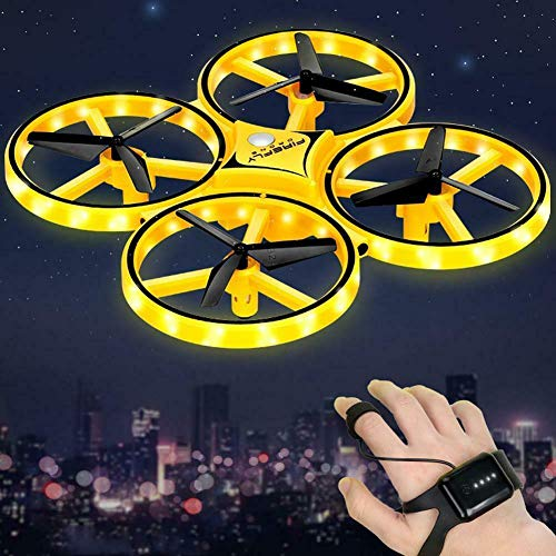 Gifts 4 All Occasions Ltd 201907 SHATCHI inductie-quadcopter UAV pneumatische led-verlichtingsbesturing met vier assen, Smart Drone Remote Gesture Interactieve klok vliegtuig