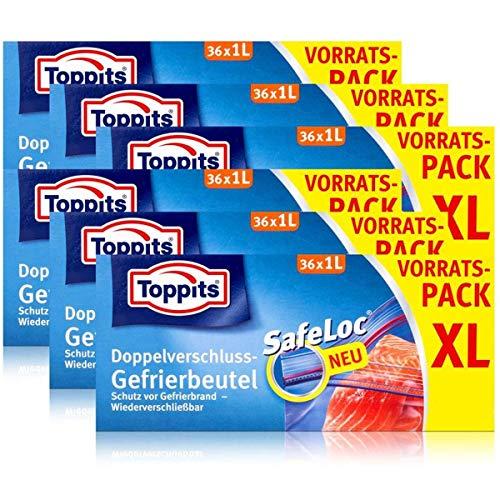 Toppits Doppel-Verschluss Gefrierbeutel 36x1 Liter (6er Pack)