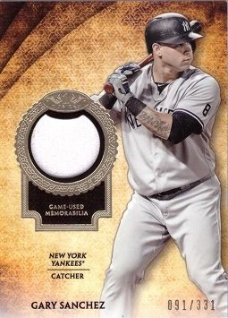 2017 Topps Tier One Relics #T1R-GSA Gary Sanchez Game Worn New York Yankees Jersey Baseball Card - Only 331 made!