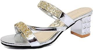Girllike Women's Rhinestone Peep Toe Block Heels Summer Shoes Slippers Party Wedding Shoes