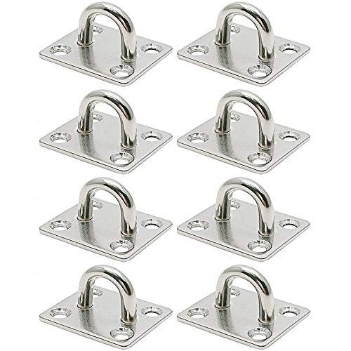Monland 1.4 x 1.2 Inch Steel Ceiling Hook Pad Eye Plate Marine Hardware Staple Hook Loop Screws Mount 8 Pcs