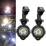 LED feux additionnels moto Phare antibrouillard , LITTOU 40 W 3000LM 6000 K Lumière DRL pour Moto (2 pcs Lumière + Support de Montage)