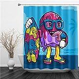 AIMILUX Duschvorhang 180x180cm,Karikatur Mustercharakter, der Eiscreme hält, hält Skateboard,Duschvorhang Wasserabweisend-Duschvorhangringen 12 Shower Curtain mit