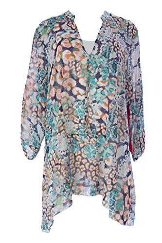 Miraclebody by Miraclesuit Women's Madrid Mosaic Snake Blouse Sz Small Coral