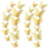 AIEX 72 Piezas Pegatinas De Mariposa 3d 3 Tamaños Calcomanías De Pared Decoración De La Pared De La Habitación Para Dormitorio Fiesta Boda (Oro)