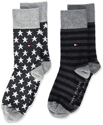 Tommy Hilfiger unisex-child Stars and Stripes Kid's (2 pack) Socks, black, 35/38 (2er Pack)