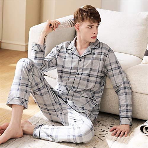 Atecou Herren Langarm Pyjama Set,Baumwolle 2-teiliges Pyjama Set,Button Down Pyjama...