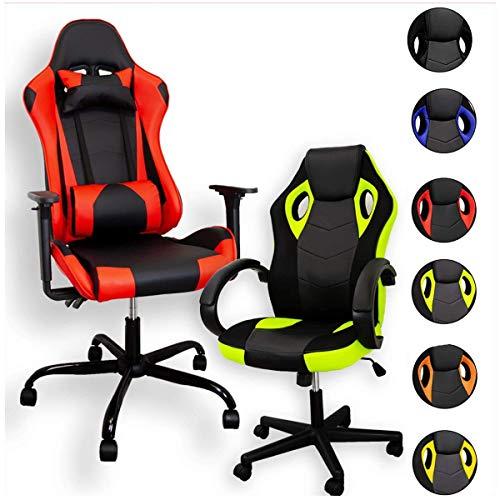ZStyle Sedia Poltrona da Gaming per Ufficio Videogiochi reclinabile Imbottita ergonomica scrivania Computer Playstation RTX GTX (GTX, Rosso)