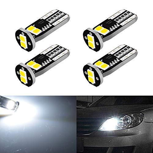 KATUR 450 Lumens T10 CanBus LED Ampoules 3030 Jeu de puces 194 168 175 2825 Intérieur de la Voiture Dôme Carte Feu de Position latéral de la Plaque d'immatriculation Lumières Blanc12V (Pack de 4)
