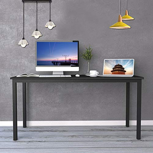 55 inches Large Computer Desk, Composite Wood Board, Decent and Steady Home Office Desk - Industrial Style Workstation/Table, E1 Teak and Black Legs, Easy Assembly, Vintage Black