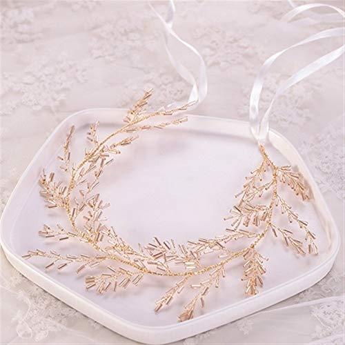 LOOEST Temperamento Mujeres Tiara Hairbands Accesorios for el Cabello de la Boda Diadema Hecho A Mano New Bridal Head Jewelry Vine Pelo Accesorios para el Cabello de Boda (Metal Color : Gold Color)