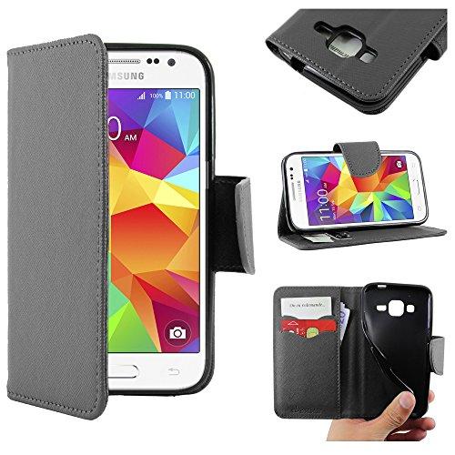 ebestStar - Cover Compatibile con Samsung Galaxy Core Prime SM-G360F, 4G SM-G361F VE Custodia Portafoglio Pelle PU Protezione Libro Flip, Nero [Apparecchio: 130.8 x 67.9 x 8.8mm, 4.5'']