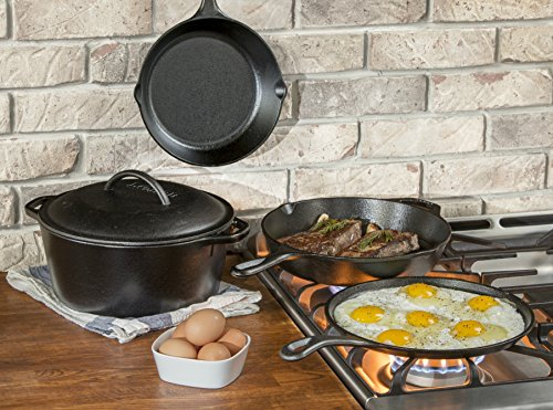 "Lodge Seasoned Cast Iron 5 Piece Bundle. 10.5"" Griddle, 8""..."