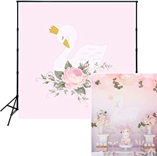 Muzi 5x5ft White Swan Pink Flowers Birthday Backdrop Golden Crown Baby Shower Decoration Photography Background Cake Dessert Banner Children Photo Portrait Studio Props W-1893