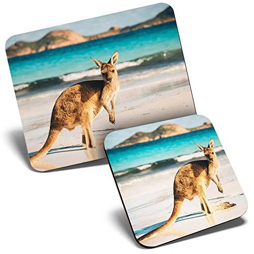 Juego de alfombrilla de ratón y posavasos – Australian Baby Kangaroo Beach 23,5 x 19,6 cm y 9 x 9 cm para computadora y portátil, oficina, regalo, base antideslizante #8812
