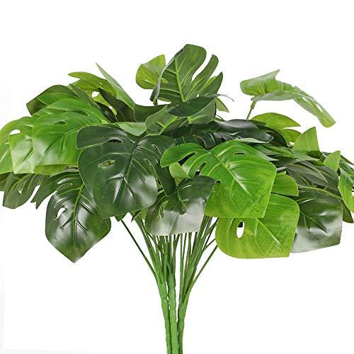 XHXSTORE 4PCS Plantas Artificiales Palmera Exterior e Interior Hojas Tópicas Falsas Plantas Verdes para Bandeja Hogar Jardín Fiesta Temática Playa Hawaiana