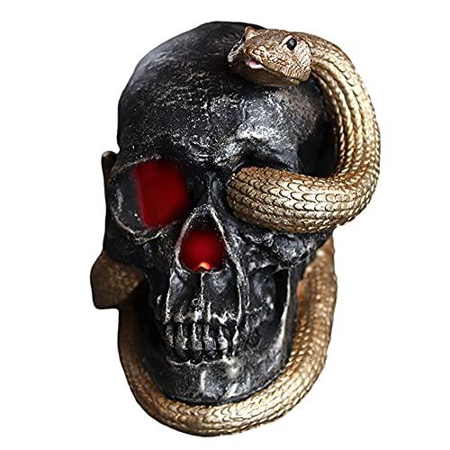 RTOFO Decoración De La Cabeza Fantasma, Decoración De Halloween, Serpiente De Miedo Brillante, Adecuado para Sala De Estar, Bar, Cafetería,Negro