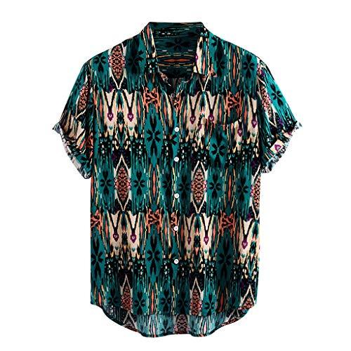 Yowablo Hemden Männer gedruckt Umdrehen Kragen Kurzarm lässig (M,18Grün)