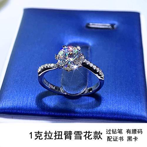 Mossan Stone Ring Simulatie Diamanten Ring Vrouw Een Karaat Van Pure Zilver Ring 12e 1 caraat sterrenlicht