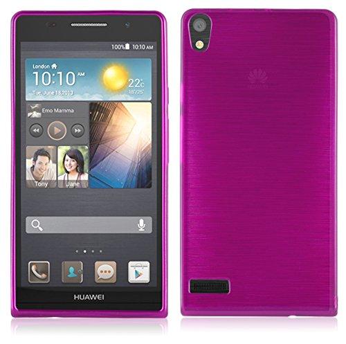 Cadorabo Hülle für Huawei P6 - Hülle in PINK – Handyhülle aus TPU Silikon in gebürsteter Edelstahloptik (Brushed) Silikonhülle Schutzhülle Soft Back Cover Case Bumper
