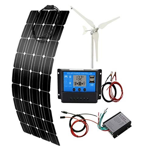 AUECOOR 200W/H Hybrid-System-Kit: 100 W Windturbinen-Generator & 100 W flexibles Solar-Panel + 20 A Solar-Laderegler + Zubehör für Wohnmobil, Camping, Boot, Wohnwagen, Wohnmobil