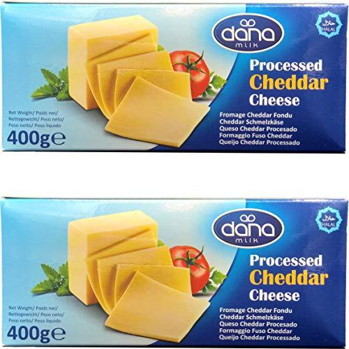 Bloque de queso Cheddar procesado Dana 400 gr   para macarrones, hamburguesas, nachos, salsas (paquete de 2)