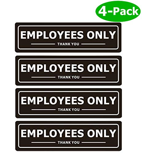 Employees Only Sign for Office Business Door Aluminum Metal Black White Signs for Store Company Restaurant Restroom Wall Entrance with Self Adhesive (Pack of 4, Black 7x2 inches)