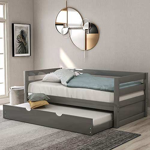Daybed with A Trundle, Twin Daybed with Pull Out Trundle, Solid Wood Bed Frame Trundle Bed Twin Size for Kids (Gray)