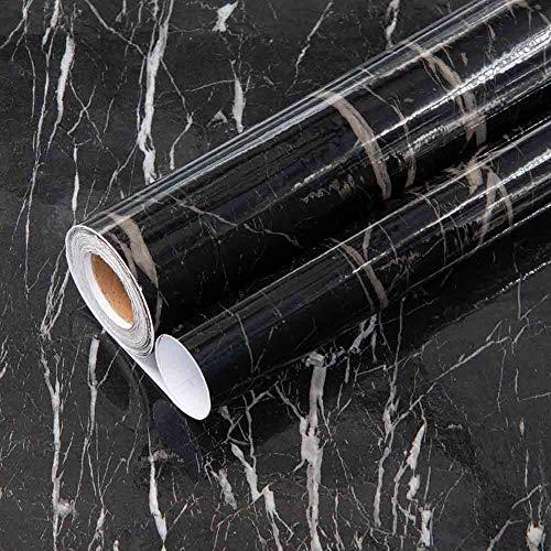 Schwarze Granit-Tapete, Marmor, dekorative selbstklebende Vinyl-Folie, wasserdichtes Papier für Schränke, Tische, Möbel, 40 cm x 40 cm
