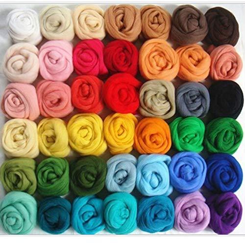 Artibetter Ovillo de lana de fieltro de fibra de lana para manualidades con aguja de fieltro de mano (36 colores)