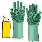 Peakally Guante Mascotas + Toalla Secado Rápido, Cepillo Pelo Silicona Goma Removedor Peine Pelo Masaje Guantes Limpio para Bañar Perro,Gato,Mascotas - Verde