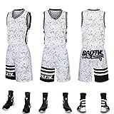 GJFENG Sportswear Sommer Basketball Kleidung Anzug Herren Sommer Lose Atmungsaktive Trainingsweste Sport Shorts Sport Training Wettbewerb Jersey Zweiteilige (Color : White, Size : L)