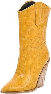 TAOFFEN Women Classic Cowboy Boots Western Heels Pull On
