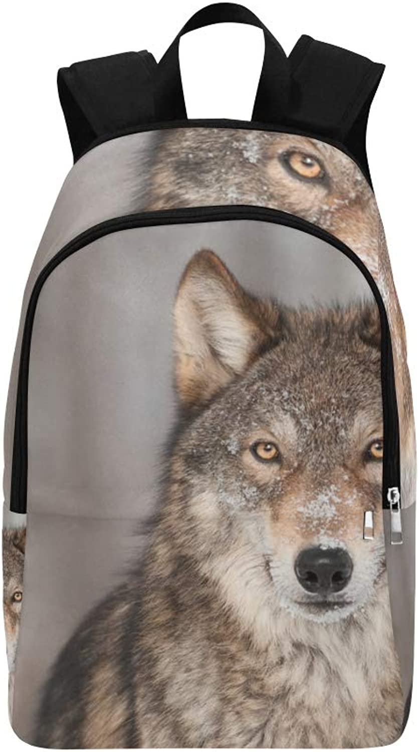 Grey Wolf Portrait Animal Casual Daypack Travel Bag College School Backpack for Mens and Women