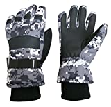 N'Ice Caps Kids Cold Weather Waterproof Camo Print Thinsulate Ski Gloves (Black/Grey Digital Camo, 10-12 Years)