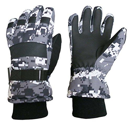 N'Ice Caps Kids Cold Weather Waterproof Camo Print Thinsulate Ski Gloves (Black/Grey Digital Camo, 7-8 Years)