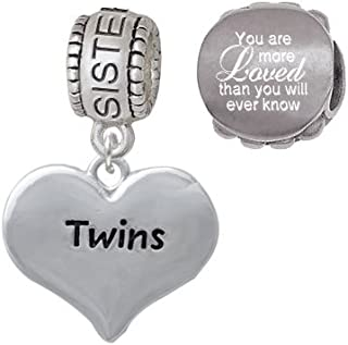 Twins Heart with Two Pair of Baby Feet Family Charm Bead with You are More Loved Bead (Set of 2)