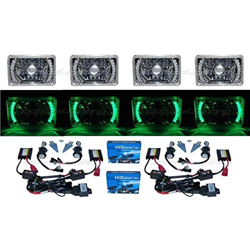OCTANE LIGHTING 4X6 Green Led Halo Projector 6000K Hid Headlight Headlamp Bulb Crystal Clear Set