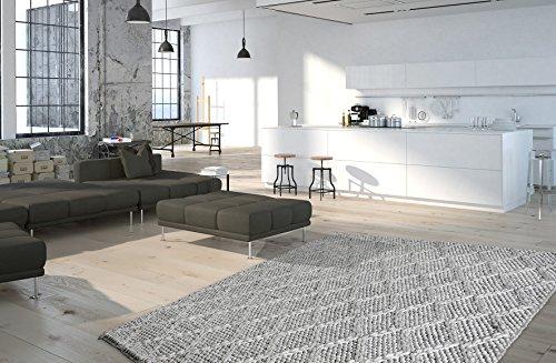 Moderner Teppich My Studio 620 von Obsession Landhaus Teppich, scandinavian design, in aktueller strickoptik, in weichen naturfarben (80 x 150 cm, STU 620 silber grau)